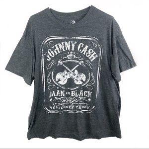 Johnny Cash | Grey Graphic Band Tee Man in Black